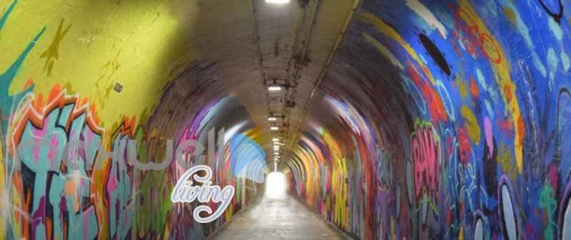 3d wallpaper of a dark tunnel with graffiti on walls Art Wall Murals Wallpaper Decals Prints Decor IDCWP-JB-000484