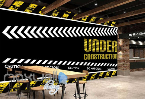 Image of wallpaper graphic design of under construction sign Art Wall Murals Wallpaper Decals Prints Decor IDCWP-JB-000491
