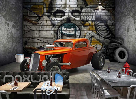 Image of 3d wallpaper of vintage orange car in a room with a design of alien on wall Art Wall Murals Wallpaper Decals Prints Decor IDCWP-JB-000492
