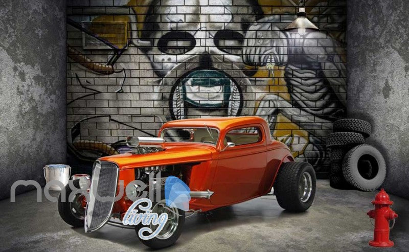3d wallpaper of vintage orange car in a room with a design of alien on wall Art Wall Murals Wallpaper Decals Prints Decor IDCWP-JB-000492