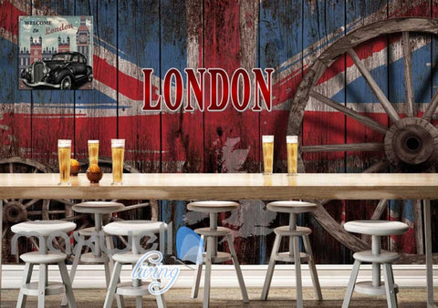 Image of london flag on vintage barn wall wallpaper Art Wall Murals Wallpaper Decals Prints Decor IDCWP-JB-000502
