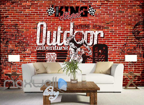Image of 3d wallpaper red brick wall with motorbike Art Wall Murals Wallpaper Decals Prints Decor IDCWP-JB-000505