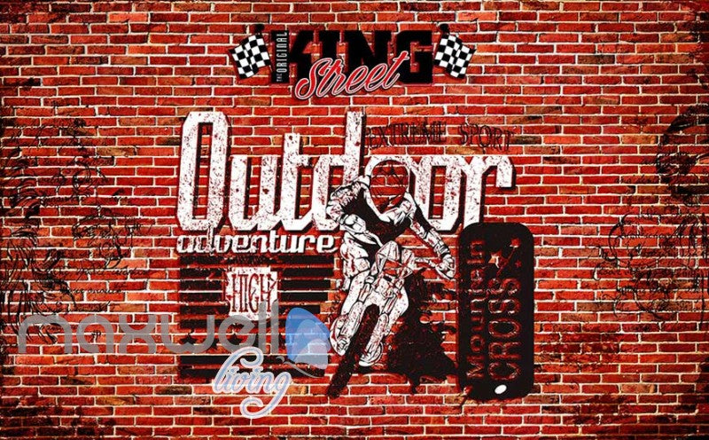 3d wallpaper red brick wall with motorbike Art Wall Murals Wallpaper Decals Prints Decor IDCWP-JB-000505