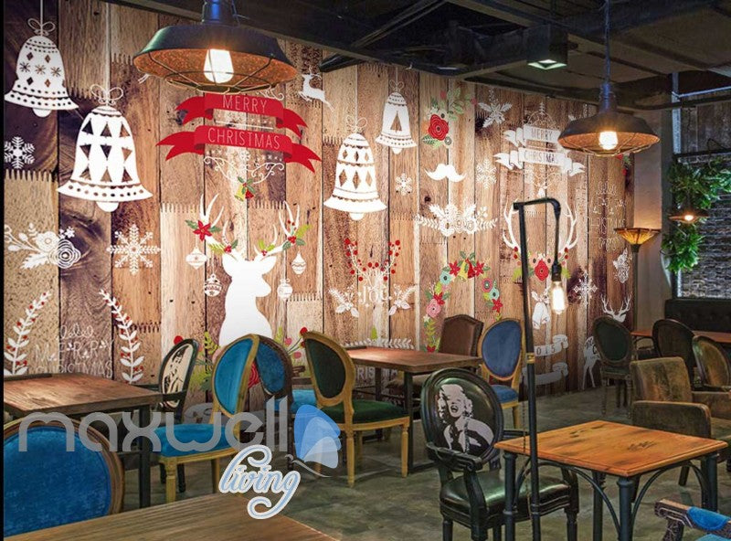wallpaper graphic design wooden wall with christmas decorations Art Wall Murals Wallpaper Decals Prints Decor IDCWP-JB-000506