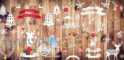 Image of wallpaper graphic design wooden wall with christmas decorations Art Wall Murals Wallpaper Decals Prints Decor IDCWP-JB-000506