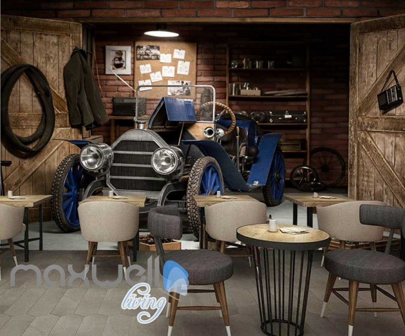 3d wallpaper of vintage blue car parked in garage Art Wall Murals Wallpaper Decals Prints Decor IDCWP-JB-000511