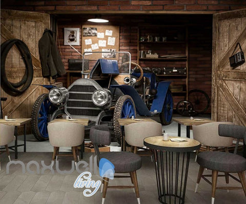 Image of 3d wallpaper of vintage blue car parked in garage Art Wall Murals Wallpaper Decals Prints Decor IDCWP-JB-000511