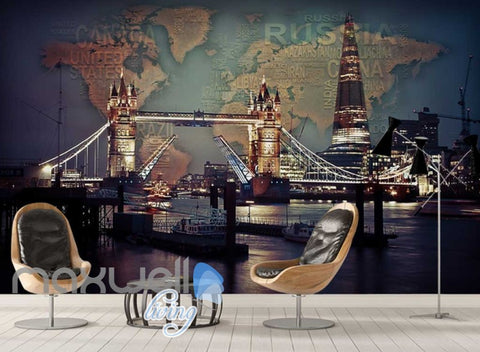 Image of 3d wallpaper photograph view of tower bridge and the shard Art Wall Murals Wallpaper Decals Prints Decor IDCWP-JB-000512