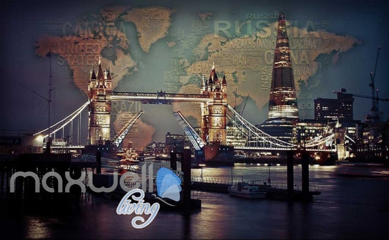 3d wallpaper photograph view of tower bridge and the shard Art Wall Murals Wallpaper Decals Prints Decor IDCWP-JB-000512