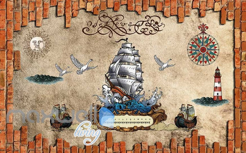 Image of graphic wallpaper design with pirate boat Art Wall Murals Wallpaper Decals Prints Decor IDCWP-JB-000513