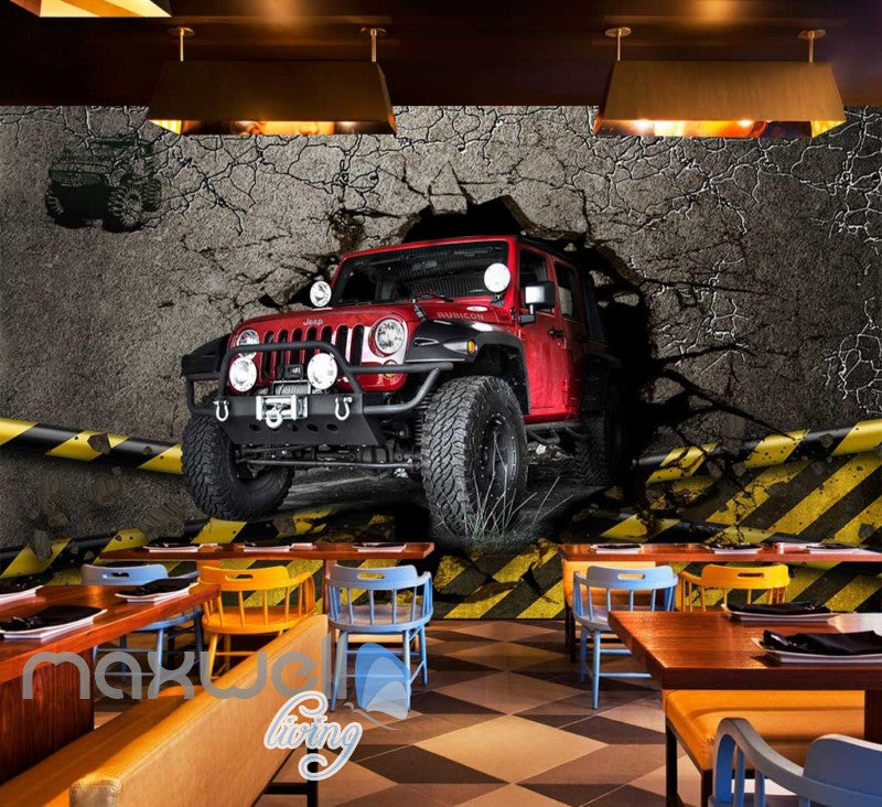 3d wallpaper red jeep breaking wall Art Wall Murals Wallpaper Decals Prints Decor IDCWP-JB-000515