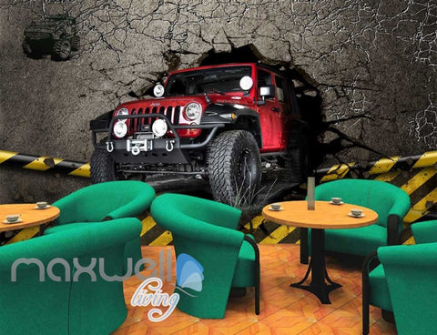 Image of 3d wallpaper red jeep breaking wall Art Wall Murals Wallpaper Decals Prints Decor IDCWP-JB-000515