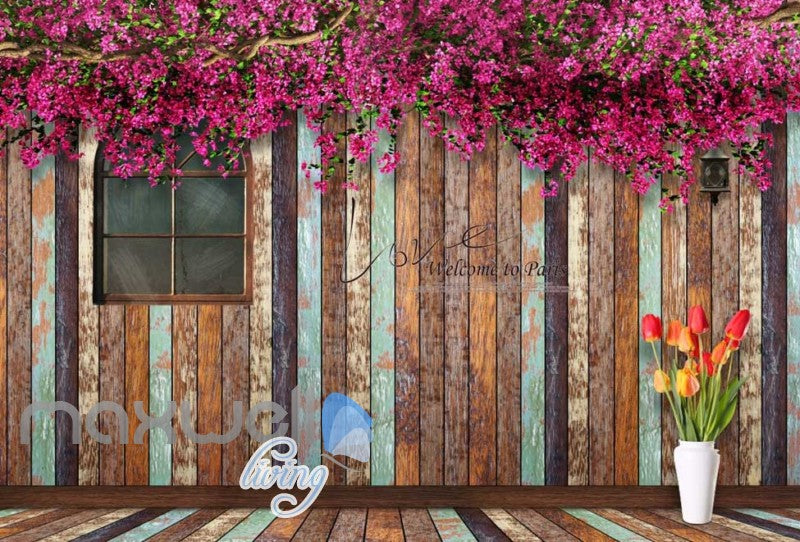 3d graphic design wallpaper of barn wooden wall with windonw and magnolia flowers Art Wall Murals Wallpaper Decals Prints Decor IDCWP-JB-000528