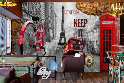 Image of 3d graphic design wallpaper with london icons and eiffel tower Art Wall Murals Wallpaper Decals Prints Decor IDCWP-JB-000530