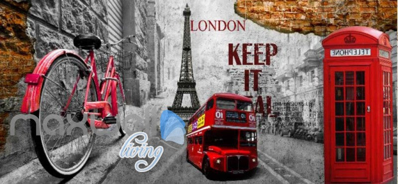 3d graphic design wallpaper with london icons and eiffel tower Art Wall Murals Wallpaper Decals Prints Decor IDCWP-JB-000530