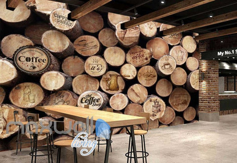 Image of 3d graphic wallpaper design wood pile Art Wall Murals Wallpaper Decals Prints Decor IDCWP-JB-000536