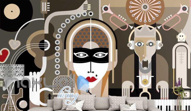 retro graphic design wallpaper of retro people Art Wall Murals Wallpaper Decals Prints Decor IDCWP-JB-000537