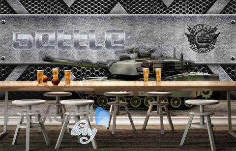 Image of 3d wallpaper tank with metal wall Art Wall Murals Wallpaper Decals Prints Decor IDCWP-JB-000538
