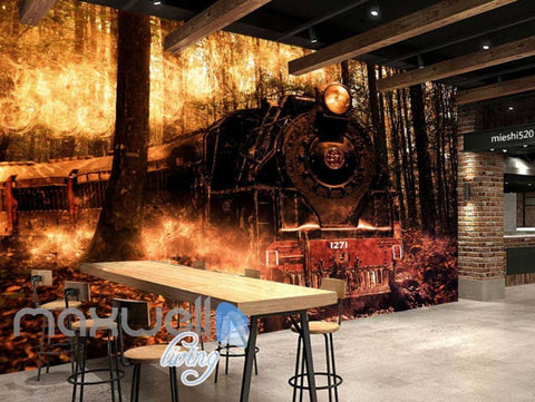 Image of 3d wallpaper train with flames in wood Art Wall Murals Wallpaper Decals Prints Decor IDCWP-JB-000541