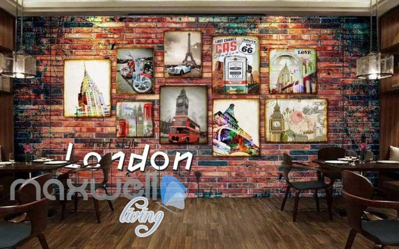 3d wallpaper with photo frames of london paris and route 66 Art Wall Murals Wallpaper Decals Prints Decor IDCWP-JB-000544