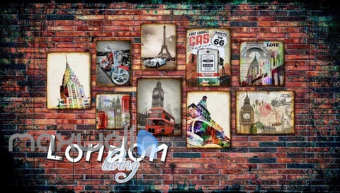 Image of 3d wallpaper with photo frames of london paris and route 66 Art Wall Murals Wallpaper Decals Prints Decor IDCWP-JB-000544