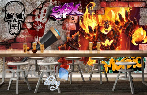 Image of 3d graphic design of fire wall with skull Art Wall Murals Wallpaper Decals Prints Decor IDCWP-JB-000548
