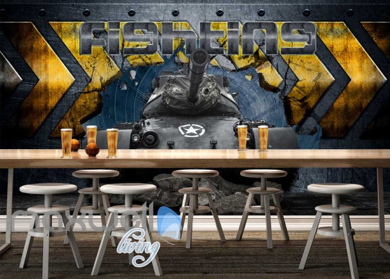 3d wallpaper with tank braking metal wall Art Wall Murals Wallpaper Decals Prints Decor IDCWP-JB-000549