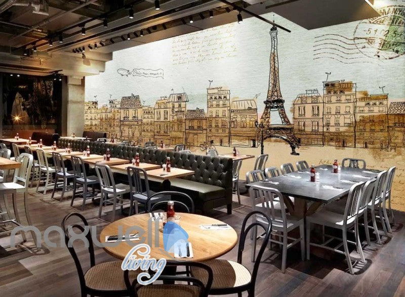 Vintage Wallpaper Drawing Of Eiffel Tower With City Paris Art Wall Murals Decals Prints