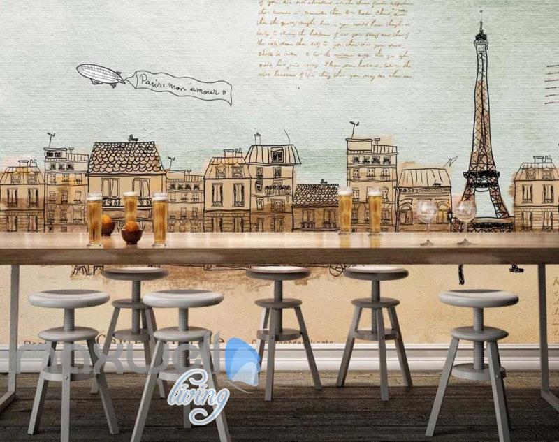 vintage wallpaper drawing of eiffel tower with city of paris Art Wall Murals Wallpaper Decals Prints Decor IDCWP-JB-000551