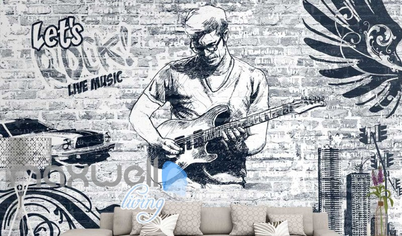Black and white wallpaper of man playing rock music with a guitar art wall murals wallpaper