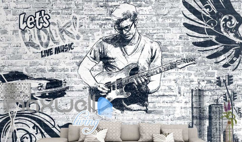 Image of black and white wallpaper of man playing rock music with a guitar Art Wall Murals Wallpaper Decals Prints Decor IDCWP-JB-000552