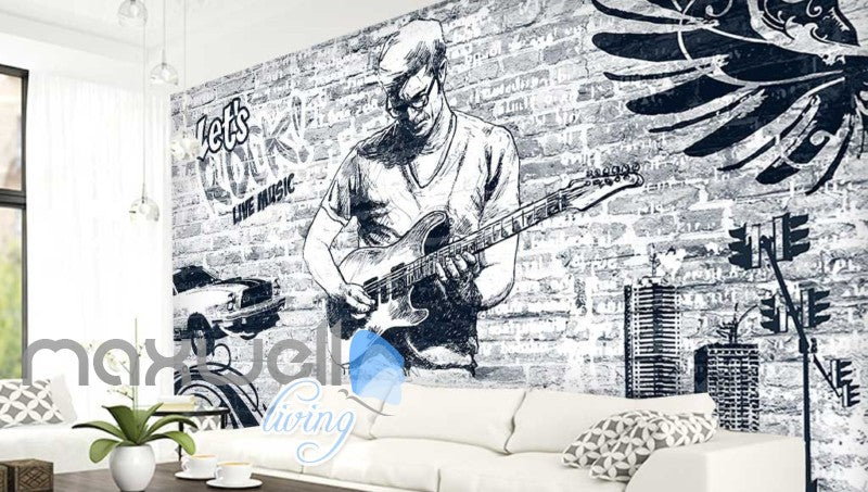 black and white wallpaper of man playing rock music with a guitar Art Wall Murals Wallpaper Decals Prints Decor IDCWP-JB-000552