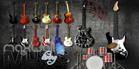Image of 3d wallpaper of hanging electronic guitarls Art Wall Murals Wallpaper Decals Prints Decor IDCWP-JB-000554