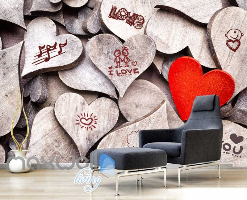 3d wallpaper of wooden hearts with drawings Art Wall Murals Wallpaper Decals Prints Decor IDCWP-JB-000556