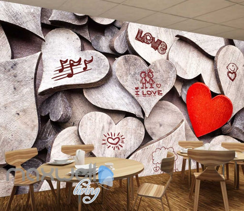 Image of 3d wallpaper of wooden hearts with drawings Art Wall Murals Wallpaper Decals Prints Decor IDCWP-JB-000556