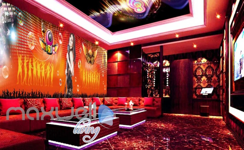 3d wallpaper of woman singing for a ktv club room Art Wall Murals Wallpaper Decals Prints Decor IDCWP-JB-000559