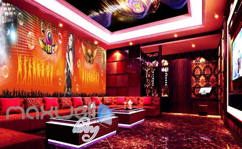 Image of 3d wallpaper of woman singing for a ktv club room Art Wall Murals Wallpaper Decals Prints Decor IDCWP-JB-000559