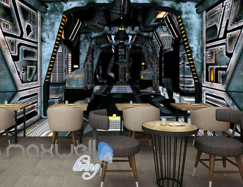 Image of 3d wallpaper of space ship interior Art Wall Murals Wallpaper Decals Prints Decor IDCWP-JB-000562