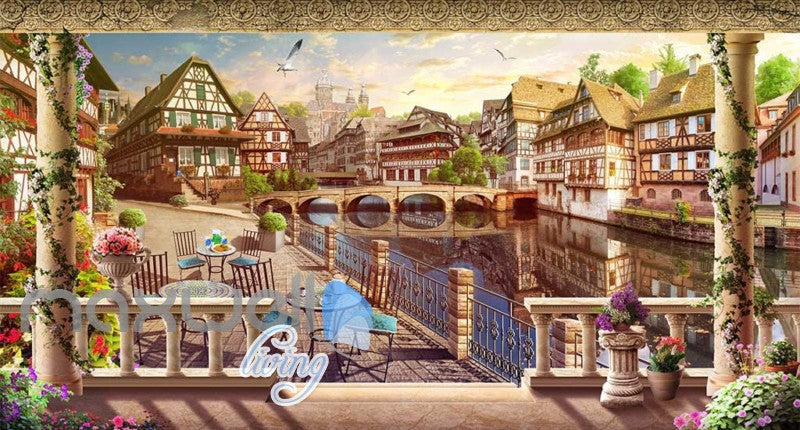 vintage window wallpaper view of a german city Art Wall Murals Wallpaper Decals Prints Decor IDCWP-JB-000565