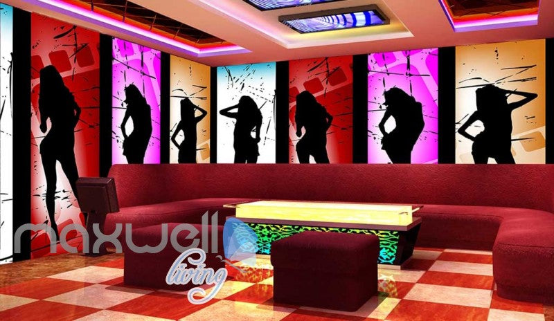 3d wallpaper dancing women silhouette Art Wall Murals Wallpaper Decals Prints Decor IDCWP-JB-000572