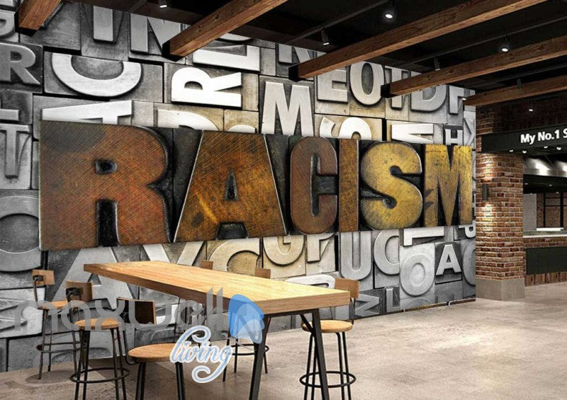 3d wallpaper typographic letters with racism word Art Wall Murals Wallpaper Decals Prints Decor IDCWP-JB-000574