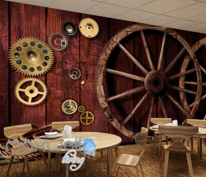 3d wallpaper with gears and wooden wheels on wooden wall Art Wall
