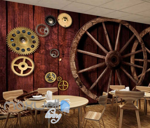 Image of 3d wallpaper with gears and wooden wheels on wooden wall Art Wall Murals Wallpaper Decals Prints Decor IDCWP-JB-000575