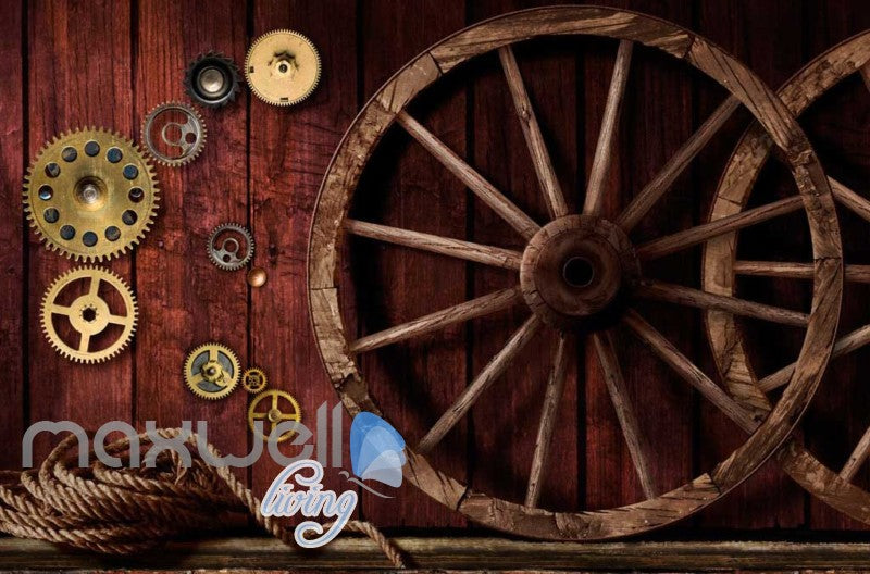 3d wallpaper with gears and wooden wheels on wooden wall Art Wall Murals Wallpaper Decals Prints Decor IDCWP-JB-000575