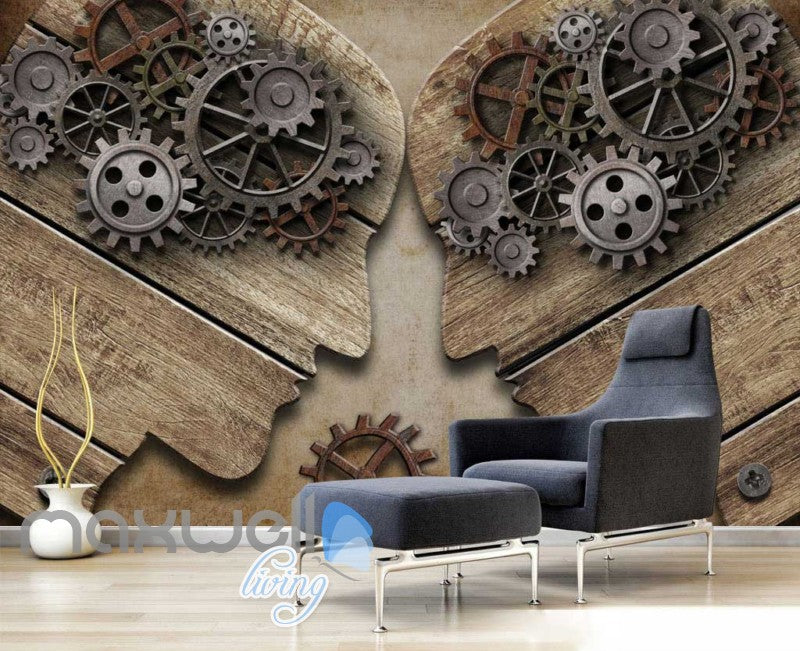 3d graphic design wallpaper with shape of 2 people with gear brains Art Wall Murals Wallpaper Decals Prints Decor IDCWP-JB-000576