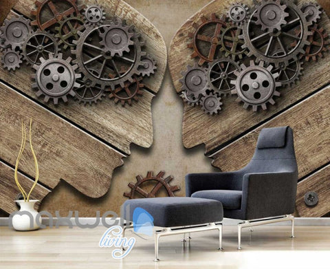 Image of 3d graphic design wallpaper with shape of 2 people with gear brains Art Wall Murals Wallpaper Decals Prints Decor IDCWP-JB-000576