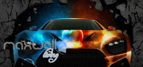 Image of 3d wallpaper colorful fancy car braking wall Art Wall Murals Wallpaper Decals Prints Decor IDCWP-JB-000577