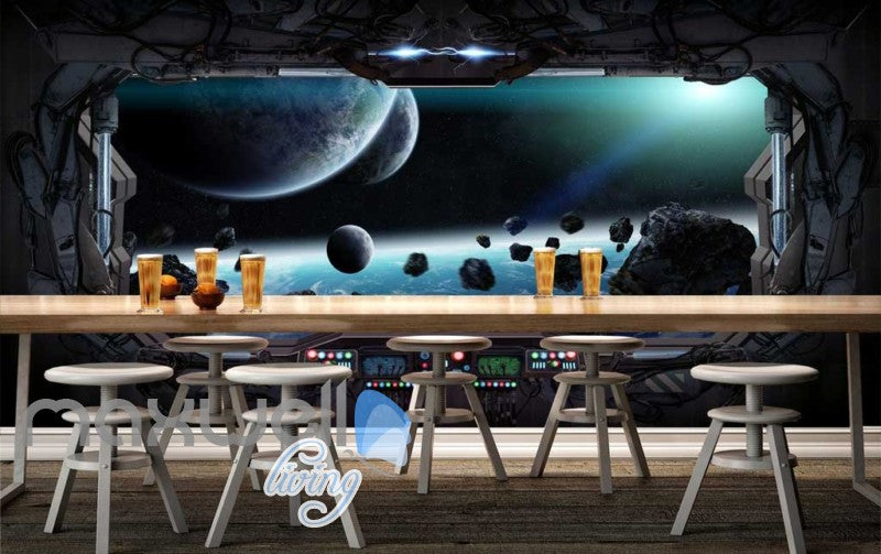 3d wallpaper of view of the space from a space ship Art Wall Murals Wallpaper Decals Prints Decor IDCWP-JB-000586