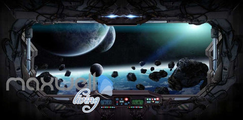 Image of 3d wallpaper of view of the space from a space ship Art Wall Murals Wallpaper Decals Prints Decor IDCWP-JB-000586