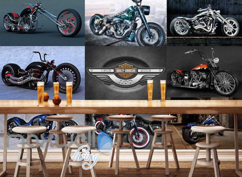 wallpaper collague photo of motor bikes Art Wall Murals Wallpaper Decals Prints Decor IDCWP-JB-000588